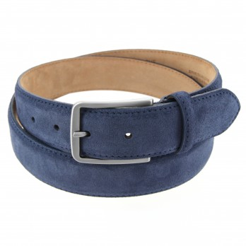 Men's belt in navy blue suede - Tom