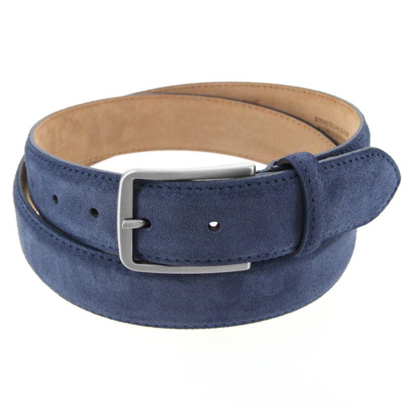 Men's belt in navy blue suede - Tom