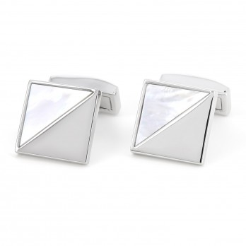 Squared mother of pearl and rhodium plated brass - Kuta