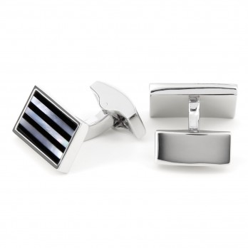 Rectangular mother pearl and onyx striped cufflinks - Kanto