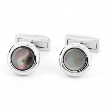 Rhodium cufflinks with antracite nacre pearl - Papeete