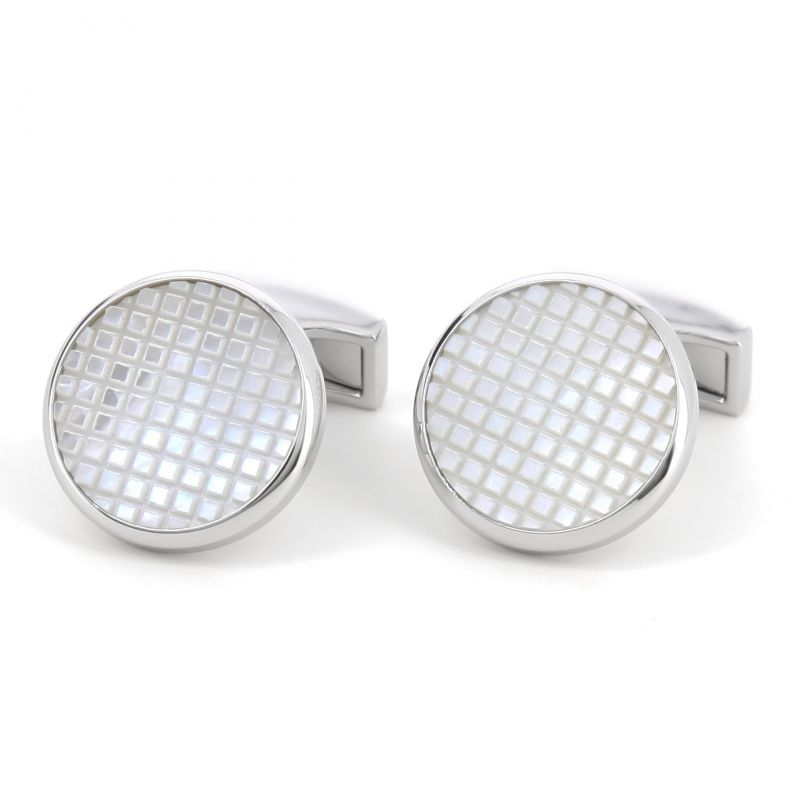 Round cufflinks with checked mother of pearl - Opoa