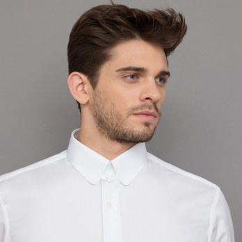 White rounded tab collar shirt