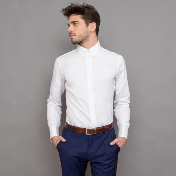 White rounded tab collar shirt tailored fit