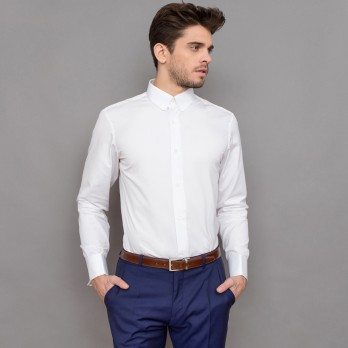 White rounded tab collar French cuff shirt tailored fit
