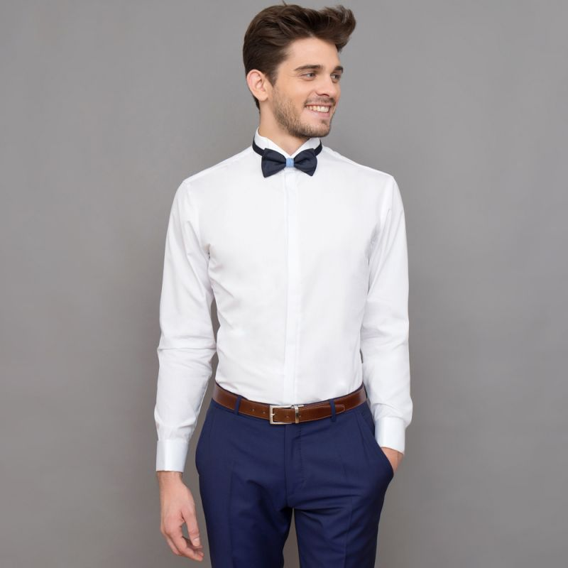 Slim Fit White Wing Collar Bow Tie Collar Shirt
