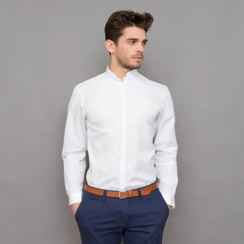 White rounded Mandarin collar shirt tailored fit