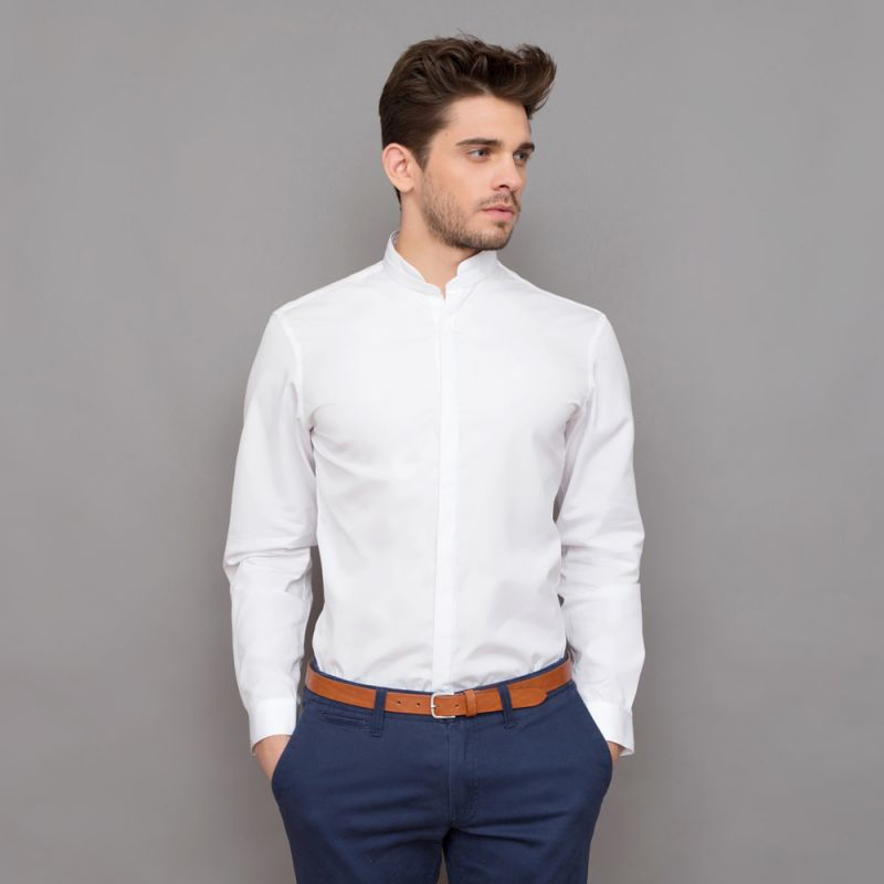 tailored fit white rounded mandarin collar shirt formal