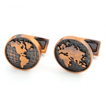 World map cufflinks - Globe Trotter II