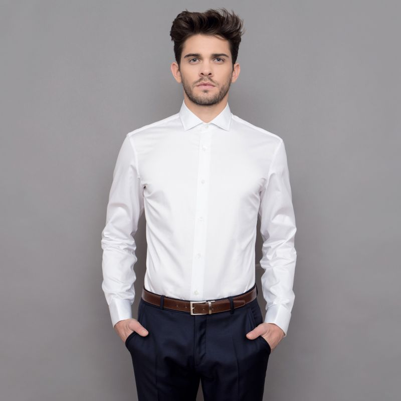 Slim fit white semi plain shark collar shirt formal shirts White french cuff shirt slim fit