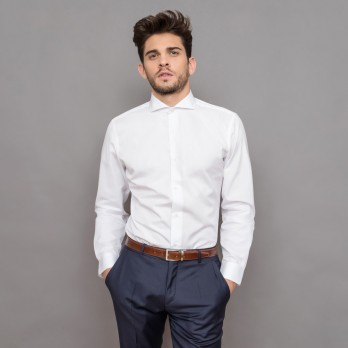 Tailored fit white cutaway collar French Cuff shirt