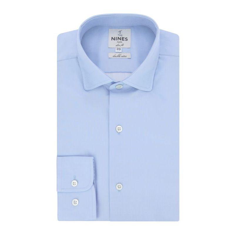 Chemise bleu ciel col italien arrondi slim fit