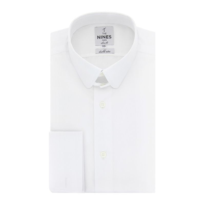 Slim fit white rounded tab collar shirt formal shirts for White french cuff shirt slim fit