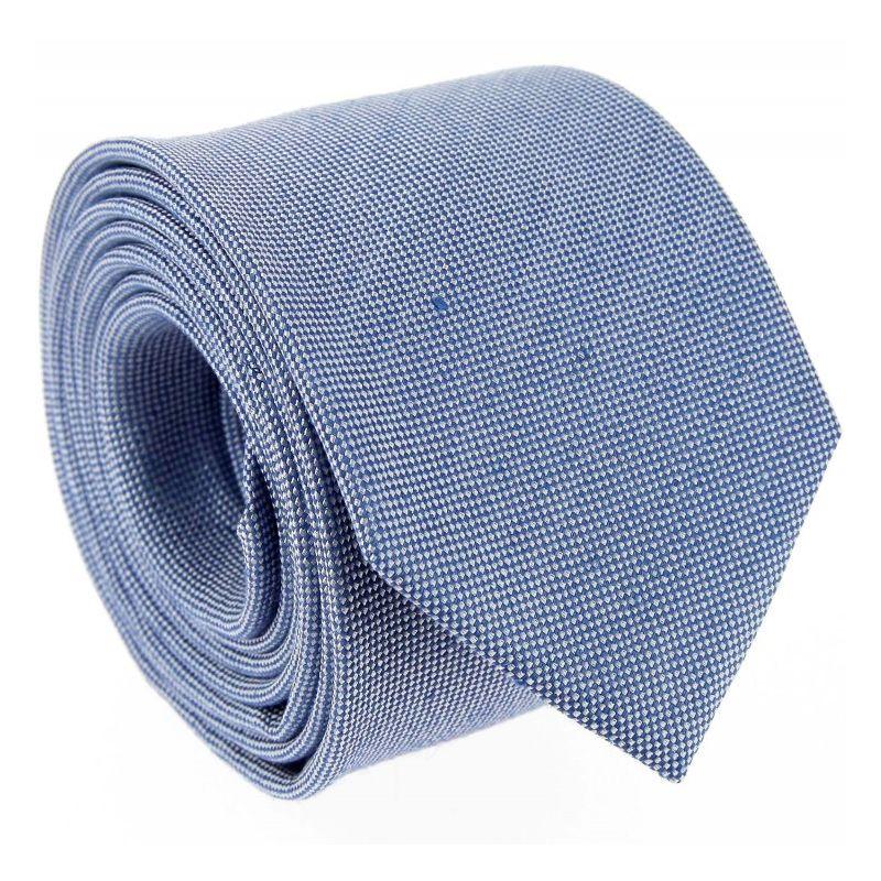 Lightblue Basket Weave Linen and Silk Tie - Parme