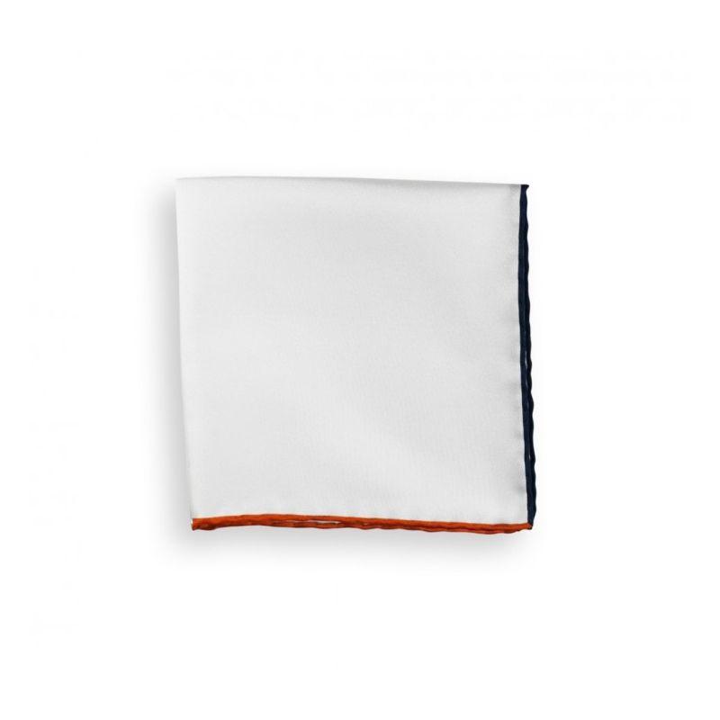 White Pocket Square With Orange and Navy Blue Hemlines - Saint-Tropez
