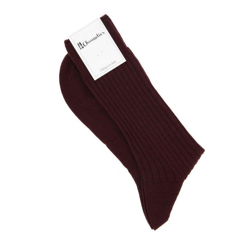 Bordeaux red virgin wool socks