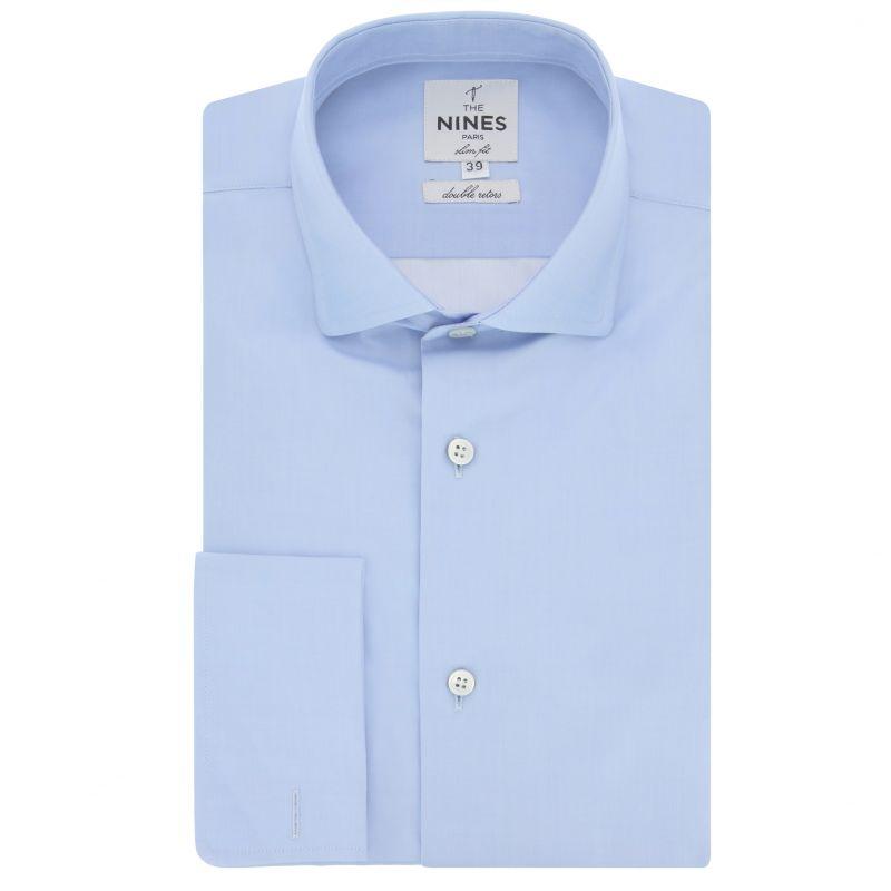 Chemise mousquetaire bleu ciel col italien arrondi slim fit