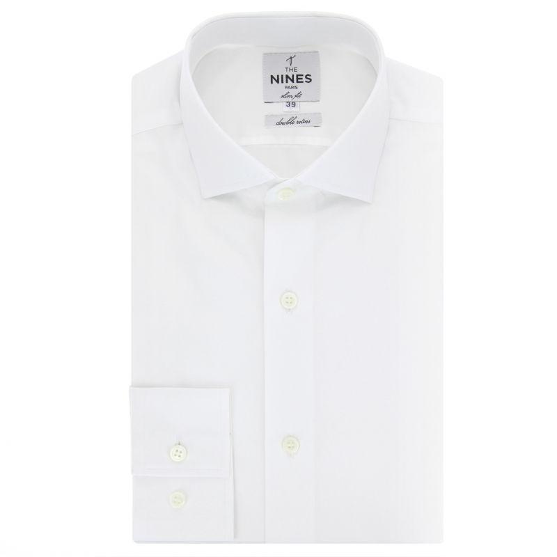 White shark collar shirt slim fit
