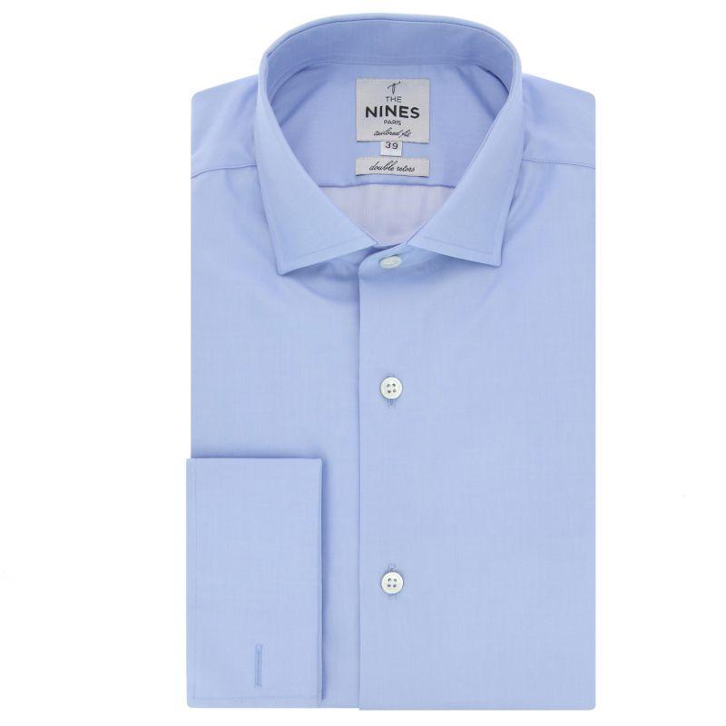 Blue shark collar French cuff shirt tailored fit