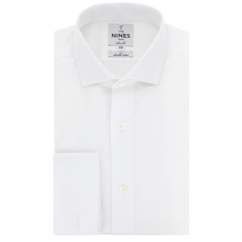 Slim fit white classic collar French Cuff shirt
