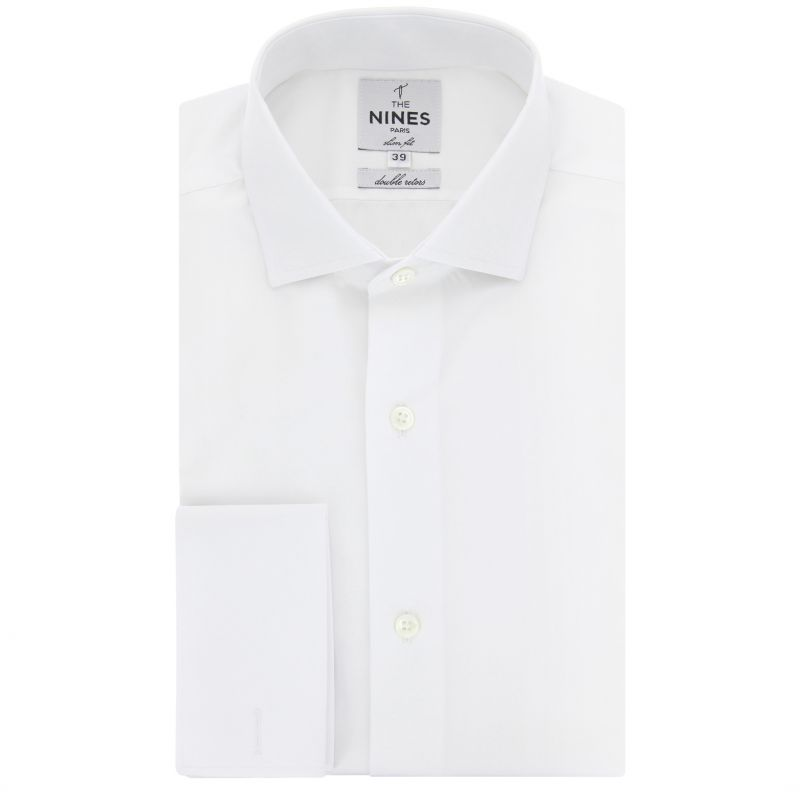 White shark collar French cuff shirt slim fit