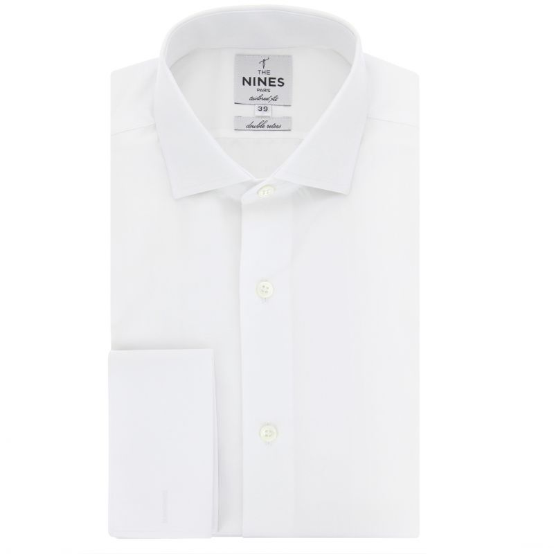 White shark collar French cuff shirt tailored fit