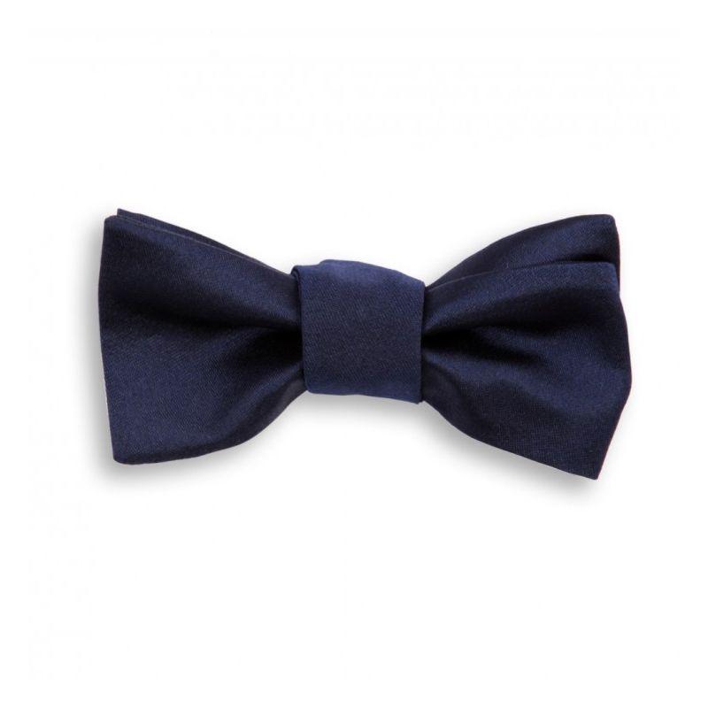 Navy Blue Satin Bow Tie   Monaco III