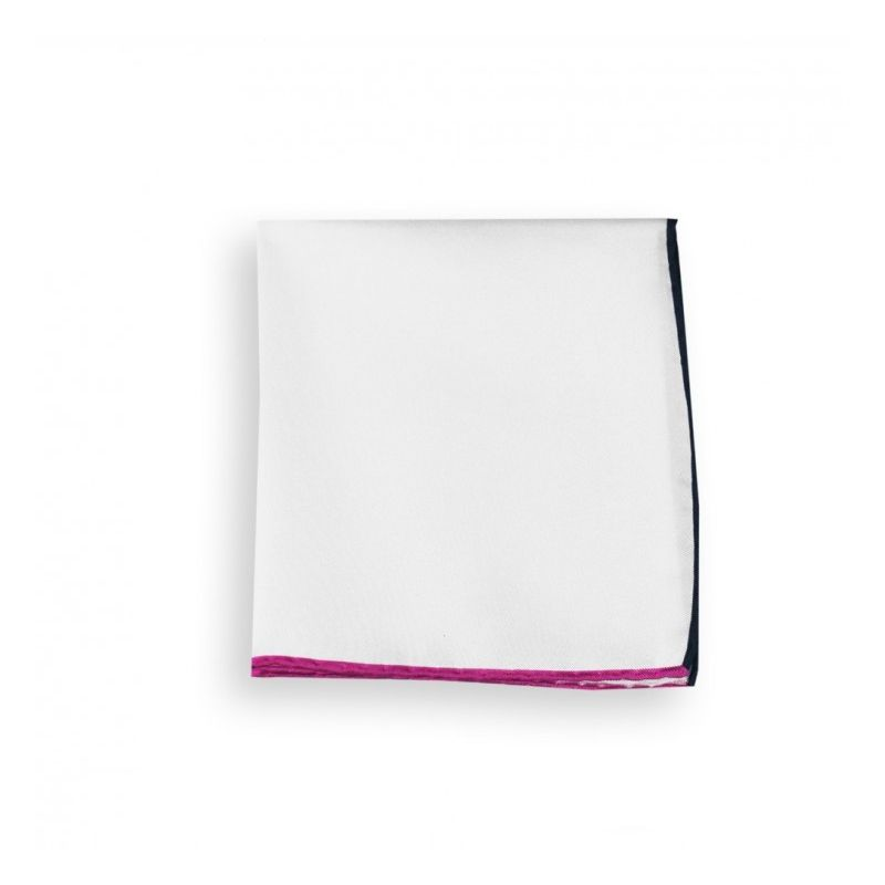 White Pocket Square With Fuchsia and Navy Blue Hemlines - Saint-Tropez