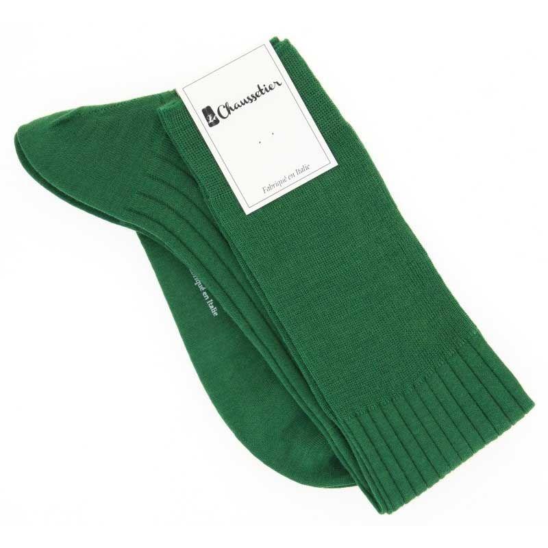 Cypress green virgin wool knee socks