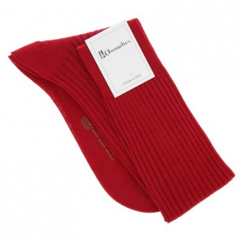 Red scottish lisle thread knee socks