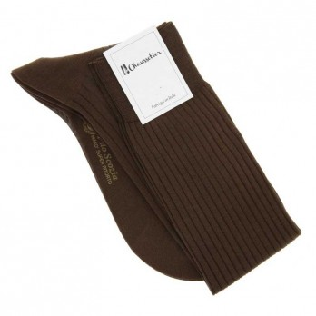 Brown cotton lisle knee socks