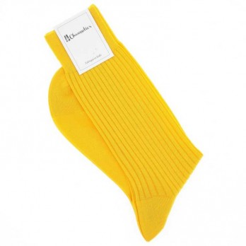 Scottish lisle thread socks in canary yellow