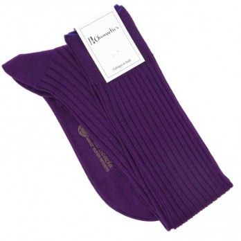 Purple cotton lisle knee socks