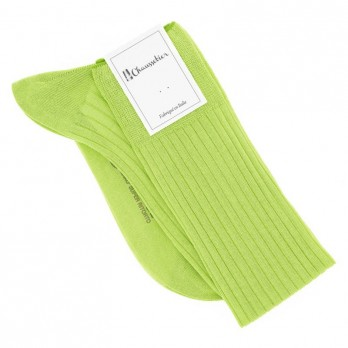 Lime Green scottish lisle thread knee socks fine ribbed