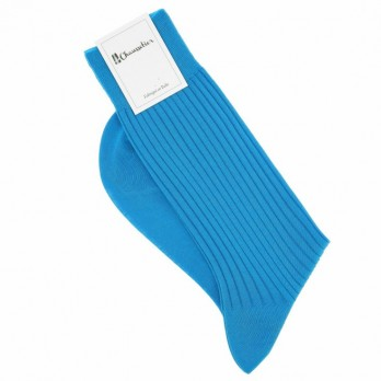 Turquoise Scottish lisle thread socks, fine ribbed