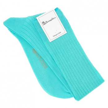 cotton lisle knee socks in seagreen