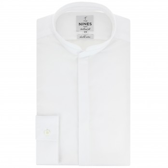 Tailored fit white rounded mandarin collar shirt