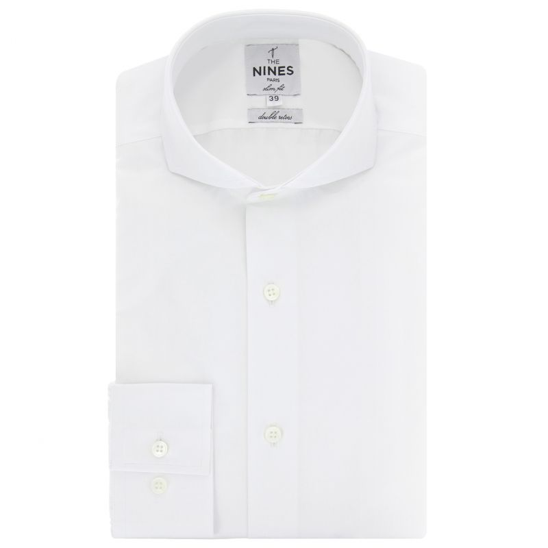 Slim Fit White Cutaway Collar Shirt Formal Shirts