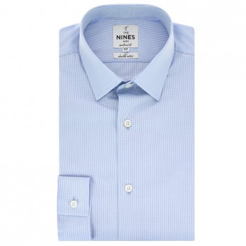 Tailored fit skyblue vichy japanese collar shirt