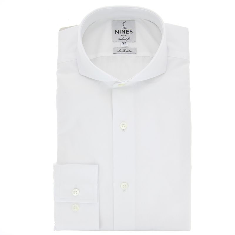 Tailored Fit White Cutaway Collar Shirt Formal Shirts