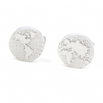 World map Sterling silver cufflinks - Globe Trotter- Globe trotter