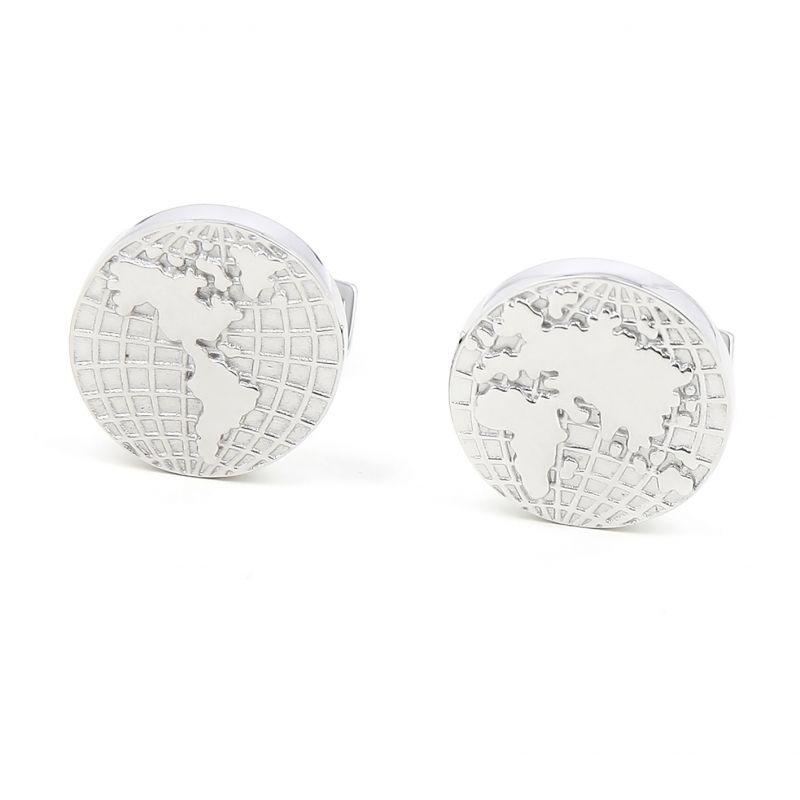 World map Sterling silver cufflinks - Globe trotter