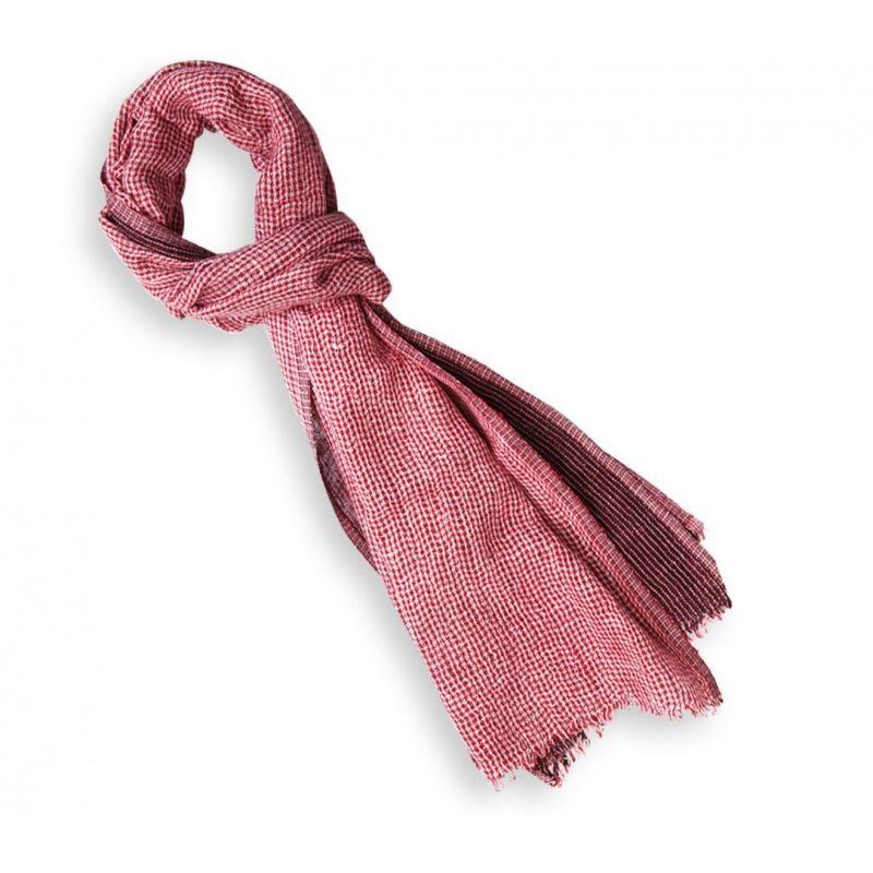 Echarpe en lin carreaux turquoise rose et bruns yona for Echarpe a carreaux