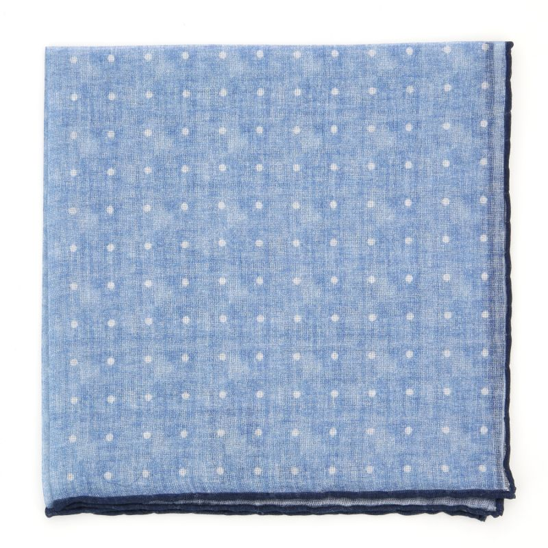 Light Blue Pocket square in Cashmere and Cotton with White Dots The Nines