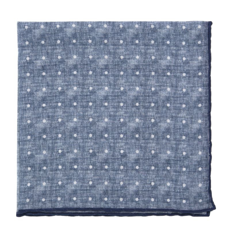 Denim Blue Pocket square in Cashmere and Cotton with White Dots The Nines