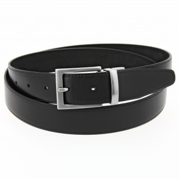 Reversible black belt in leather and nubuck - Clint