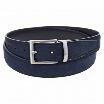 Reversible navy blue belt in leather and nubuck - Clint