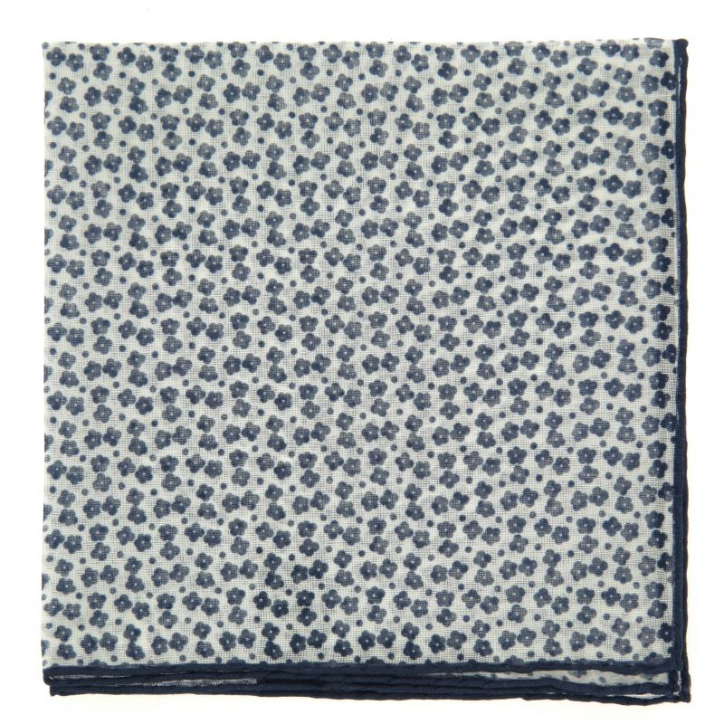 White Pocket square in Cotton and Cachemire with Blue Flowers The Nines