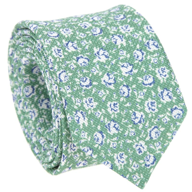 Green Tie In Silk And Linen With White Flowers The Nines