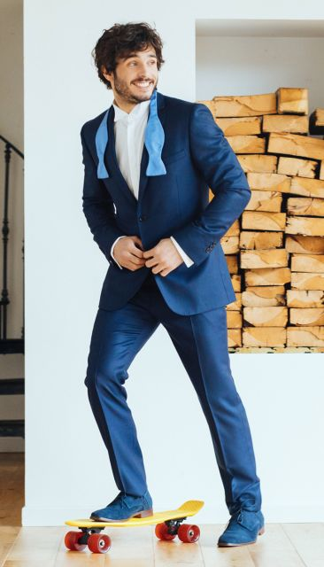 Navy blue birdseye suit from the Nines